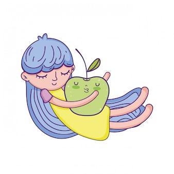 Kleines mädchen mit apfel kawaii charakter