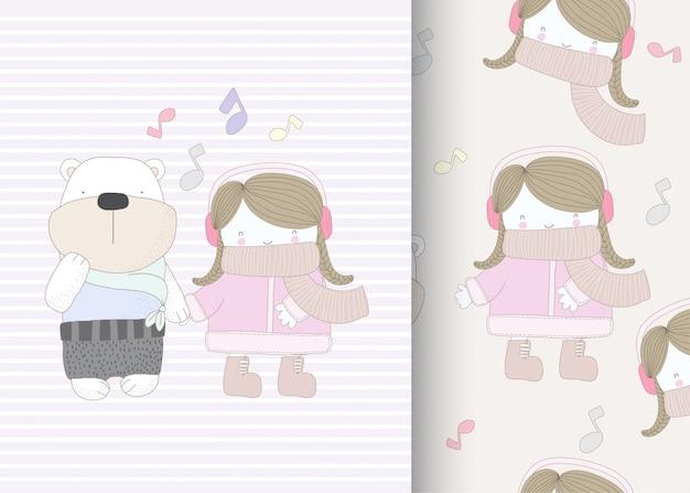 Kleines mädchen mit bär nahtlose muster