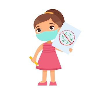 Kleines mädchen mit der medizinischen maske, die papierblatt mit virusbild hält. nettes schulkind mit bild und bleistift in den händen lokalisiert auf weißem hintergrund. virenschutz-konzept.