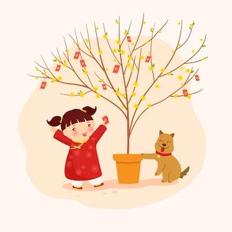 Kleines mädchen mit einem aprikosenbaum und einem hund