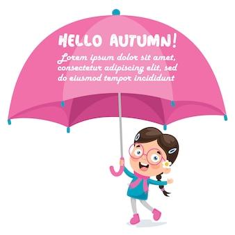 Kleines mädchen mit einem großen rosa regenschirm