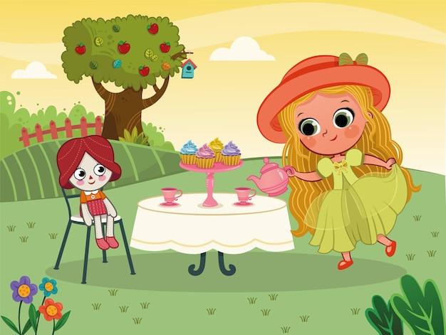 Kleines mädchen mit einer teeparty mit ihrer puppe vektor-illustration