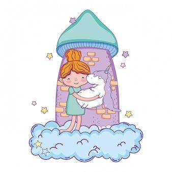 Kleines mädchen mit einhorn und wolke kawaii