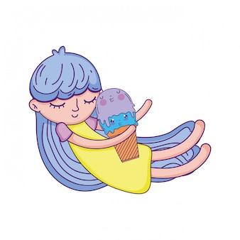 Kleines mädchen mit eis kawaii charakter