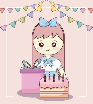 Kleines mädchen mit geschenkbox und süßem kuchen