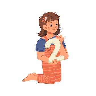 Kleines mädchen mit großer zahl, das lernt, isolierte weibliche persönlichkeiten mit spielzeugbildung zu zählen und