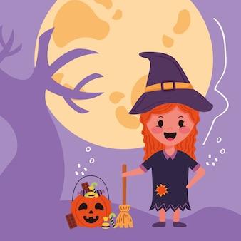 Kleines mädchen mit halloween-kostüm der hexe