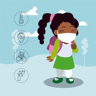 Kleines mädchen mit ikonen des coronavirus-schutzes und der symptome