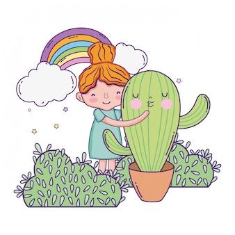 Kleines mädchen mit kaktus kawaii charakter