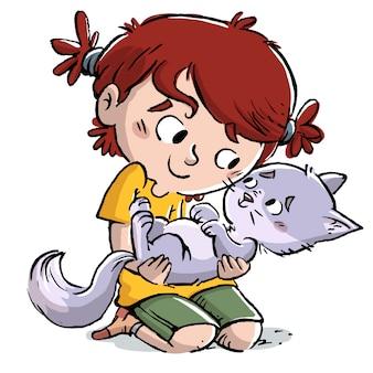 Kleines mädchen mit katze in den armen