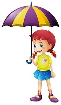 Kleines mädchen mit regenschirm