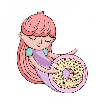 Kleines mädchen mit süßem donut kawaii charakter