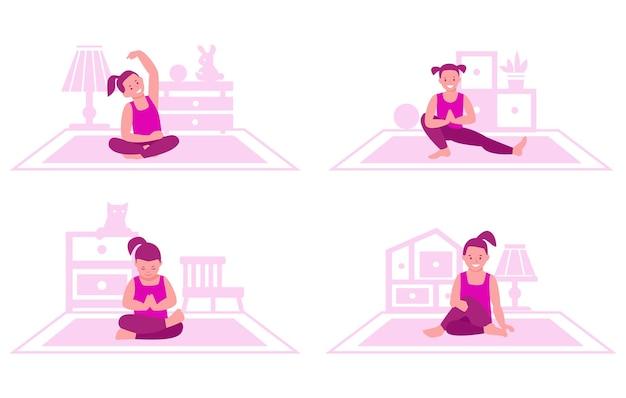 Kleines mädchen praktiziert yoga auf dem hintergrund des innenraums des raumes