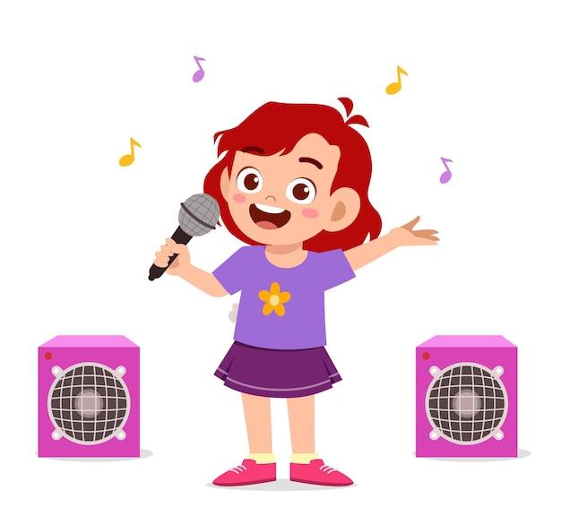 Kleines mädchen singen ein schönes lied auf bühnenillustration
