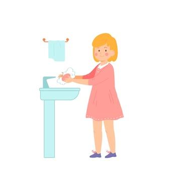Kleines mädchen wäscht ihre hände gesundes lebensstilkonzept vektorillustration flacher stilcharakter
