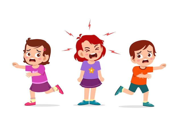 Kleines mädchen weint und schreit so laut und bringt ihre freundin zum laufen