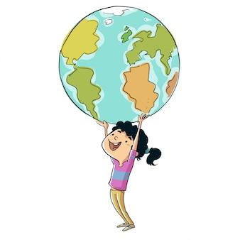 Kleines mädchen, welches die planet erde mit ihren händen anhält