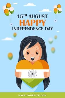Kleines nettes mädchen, das indisches flaggenherz hält, das glückliche unabhängigkeitstag-plakatschablone wünscht