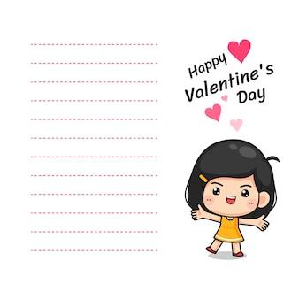 Kleines nettes mädchen in der glücklichen haltung, im kawaii maskottchencharakter für anmerkung, in der karte oder im buchstaben im valentinstagkonzept, karikaturvektorillustration