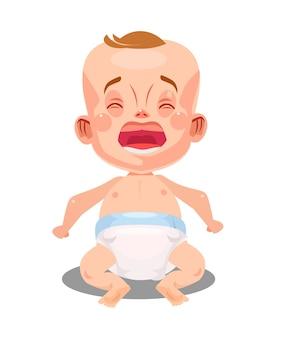 Kleines neugeborenes babykind, das weint und schreit