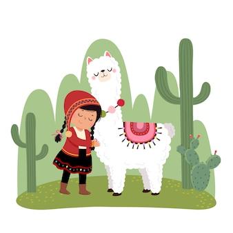 Kleines peruanisches mädchen und ihr alpaka mit kakteen