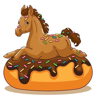 Kleines pony. leckerer donut mit streuseln. vektor-buchillustration für kinder.