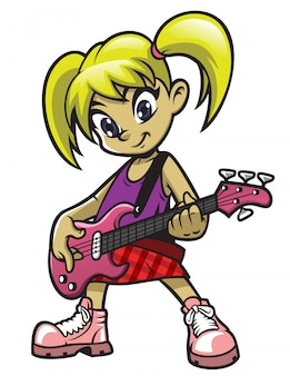 Kleines rockermädchen, das e-bass spielt