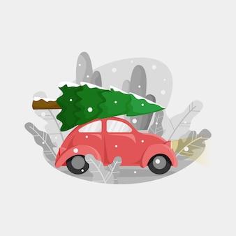 Kleines rotes auto bringt weihnachtsbaum nach oben