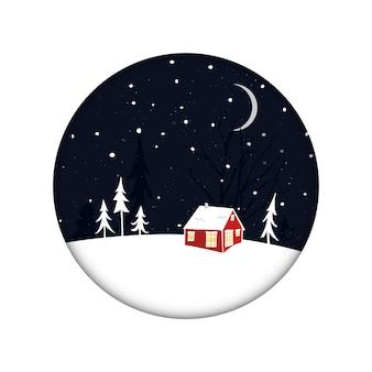 Kleines rotes haus in der nachtlandschaft mit schnee- und baumsilhouetten weihnachtskarte winterlandschaft