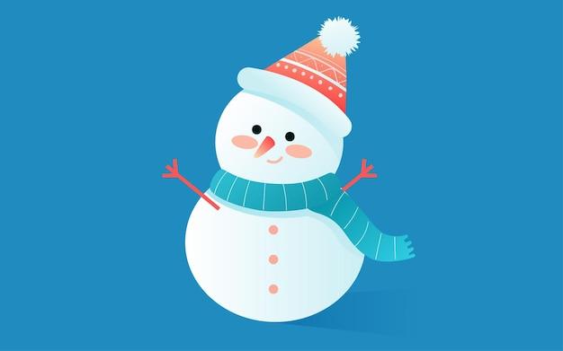 Kleines schneefestivalillustrationswinter outdoor-schneemann-naturszenenplakat