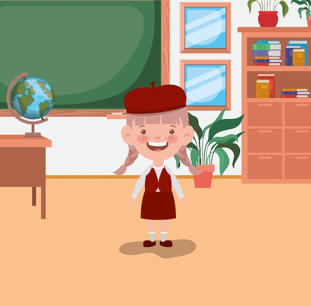 Kleines studentenmädchen im klassenzimmer