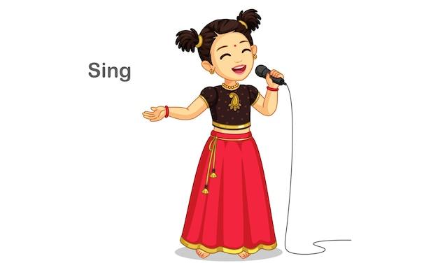 Kleines süßes mädchen in einer traditionellen kleidung, die eine liedillustration singt