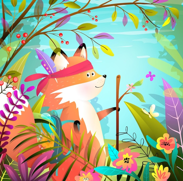 Kleines tapferes niedliches fuchs-tier geht wanderabenteuer in wilder und heller waldlandschaft. exotische illustration des abenteurers der bunten tiere für kinder im aquarellstil. karikatur.