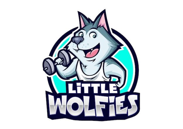 Kleines wolfies-maskottchen-design