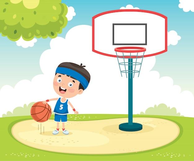Kleinkind, das draußen basketball spielt