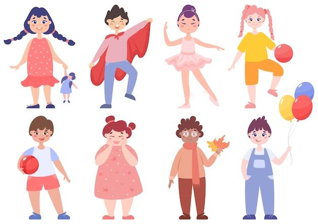 Kleinkind eingestellt. sammlung von jungen und mädchen, die verschiedene aktivitäten ausführen. nettes kind spielen mit spielzeug. glückliches kleinkind. illustration