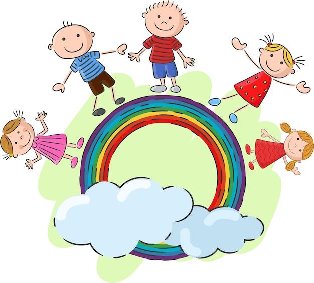 Kleinkinder, die auf dem regenbogen stehen