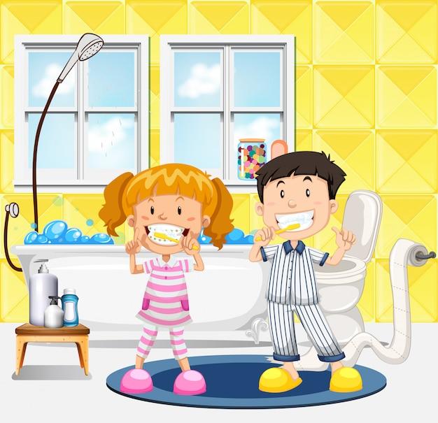 Kleinkinder, die ihre zahnszene putzen