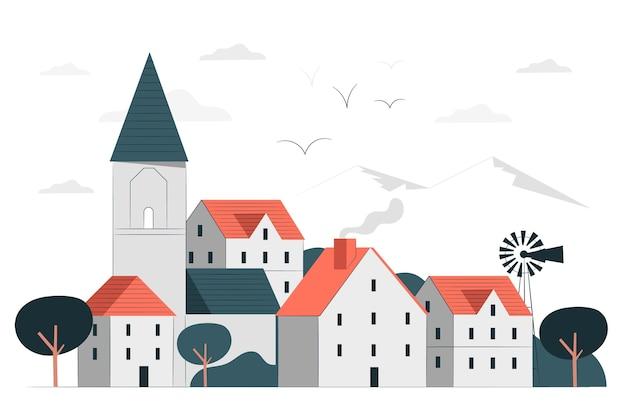 Kleinstadtkonzeptillustration