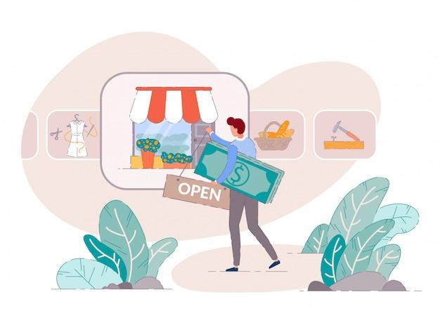 Kleinunternehmer. einzelhandelsgeschäftskonzept des startup-geschäfts. kleinunternehmer open shop