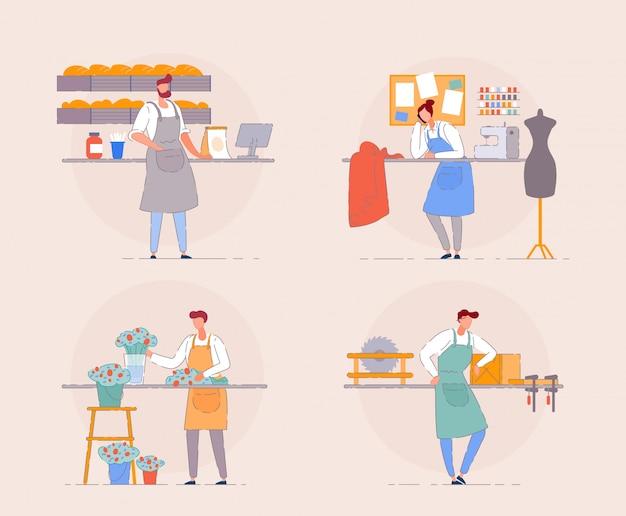 Kleinunternehmer. karikaturporträt des geschäftsinhabers am arbeitsplatz. florist im blumenladen, bäcker in einem kleinen backhaus, zimmermann und textilladenbesitzer.
