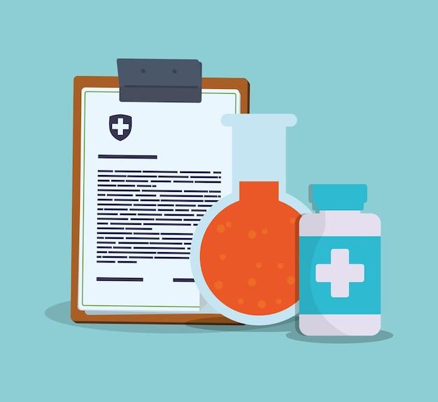 Klemmbrett bericht klinische medizin reagenzglas