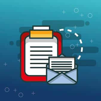 Klemmbrett dokumentiert e-mail-kommunikationsbüro