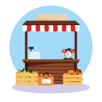 Klemmen sie kioskfassade von speicherfrüchten, straßenstand fest