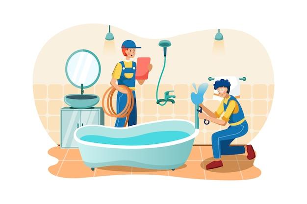 Klempner befestigen die wasserleitungen der badewanne.