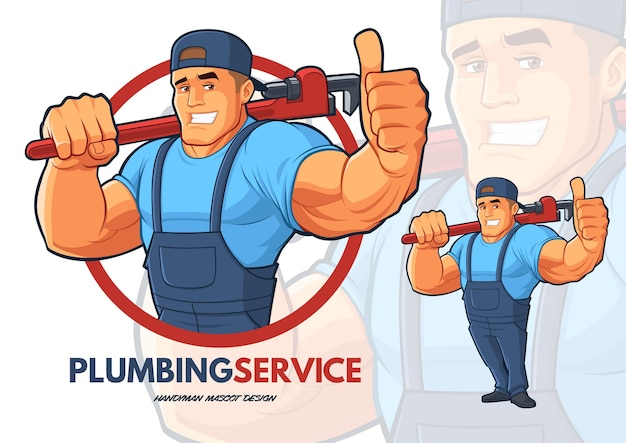 Klempner charakter design mit starken großen armen