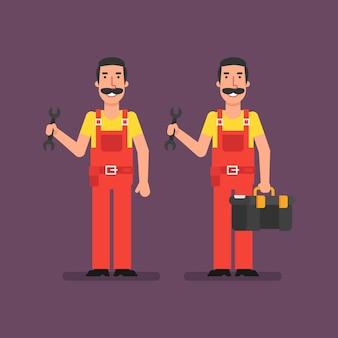 Klempner hält schraubenschlüssel hält koffer und lächelt. vektor-illustration.