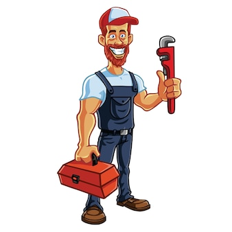 Klempner hipster handwerker cartoon charakter design vektor