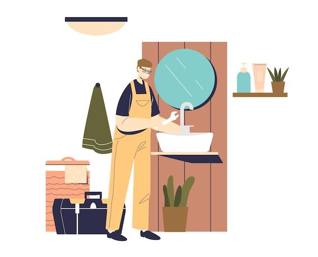 Klempner in uniform mit schraubenschlüssel, der waschbecken im modernen badezimmer repariert