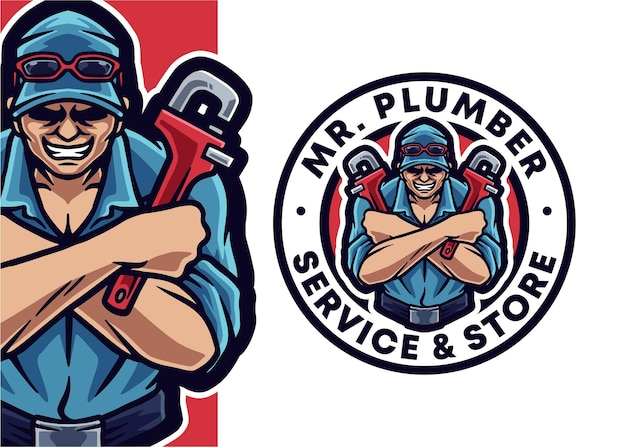Klempner maskottchen logo illustration